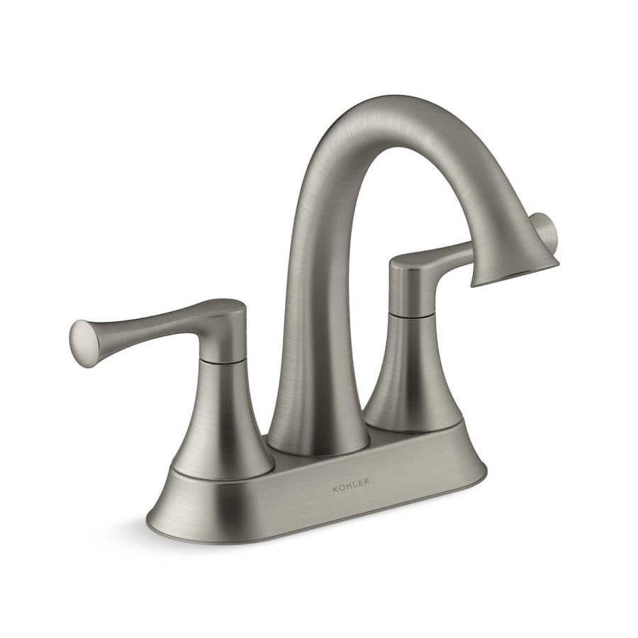 Shop KOHLER Lilyfield Brushed Nickel 2-Handle 4-in Centerset ...