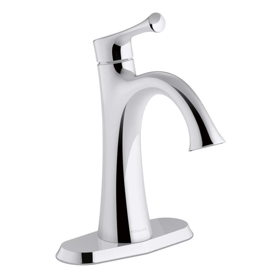Shop KOHLER Lilyfield SingleHandle Bathroom Sink Faucet Polished - Kohler bathroom faucet handles
