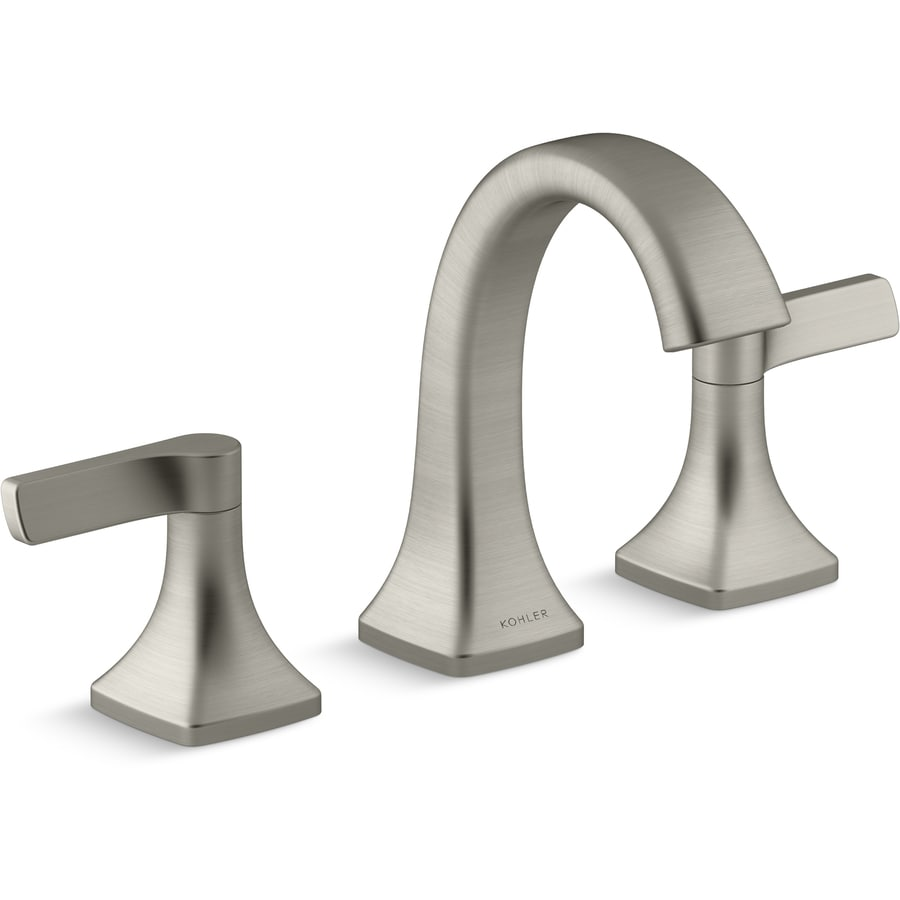 Kohler Maxton Brushed Nickel 2 Handle Widespread Watersense Bathroom Sink Faucet With Drain
