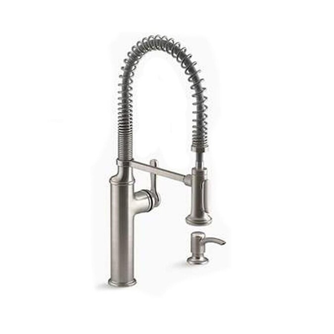Kohler Sous Vibrant Stainless 1 Handle Deck Mount Pull Down Handle Kitchen Faucet Deck Plate Included In The Kitchen Faucets Department At Lowes Com