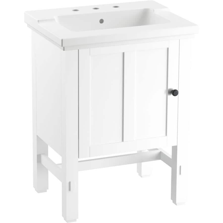 KOHLER Tresham 24.4375-in Linen White Single Sink Bathroom ...