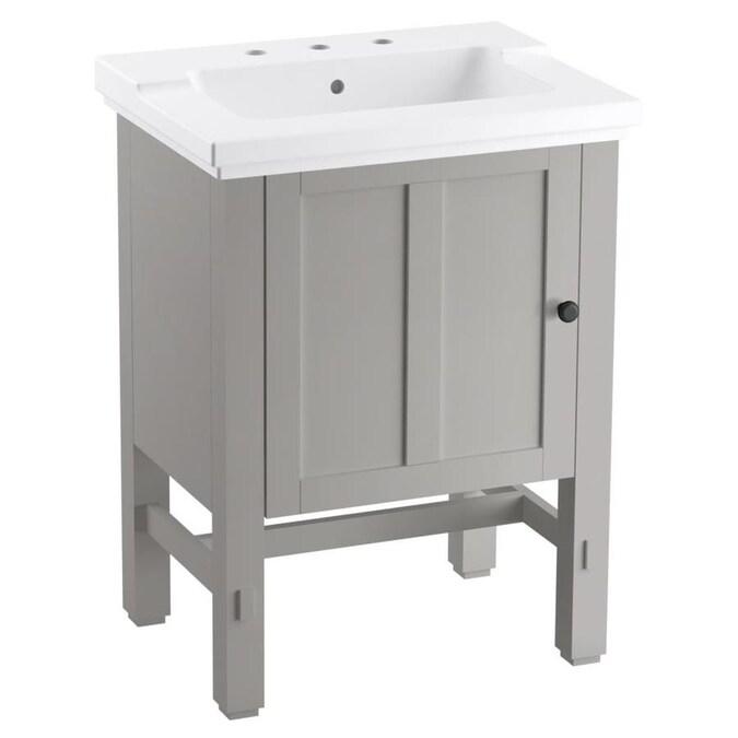 Kohler Tresham 25 In Mohair Grey Single Sink Bathroom Vanity With White Ceramic Top In The Bathroom Vanities With Tops Department At Lowes Com