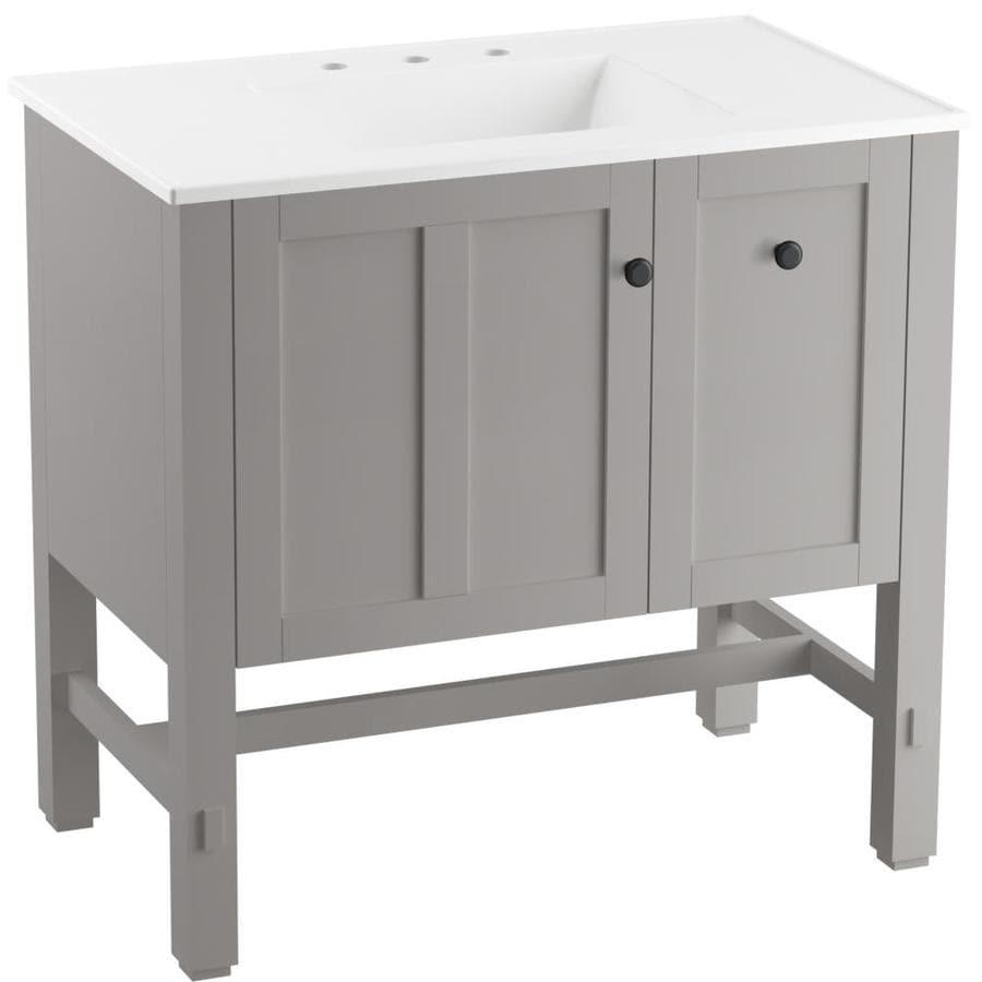 Kohler Tresham 37 In Mohair Grey Single Sink Bathroom Vanity With White Ceramic Top In The Bathroom Vanities With Tops Department At Lowes Com