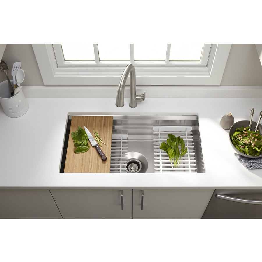 Kohler Prolific Undermount 29 In X 16 5 In Stainless Steel Single Bowl Workstation Kitchen Sink With Drainboard In The Kitchen Sinks Department At Lowes Com