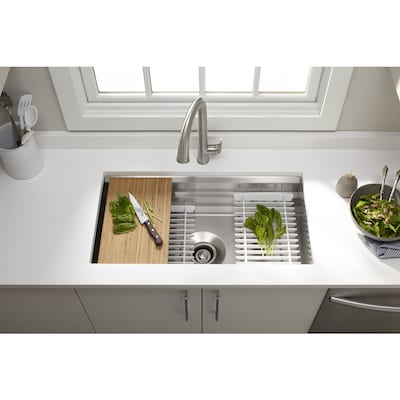Prolific 29 In X 16 5 Stainless Steel Single Basin Undermount Residential Kitchen Sink With Drainboard