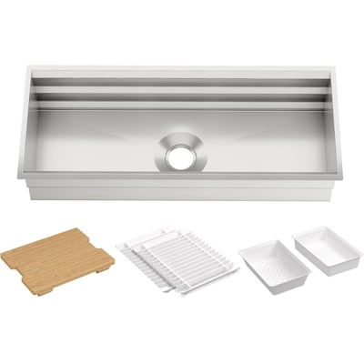 Prolific 44-in x 11.0625-in Stainless Steel Single-Basin Undermount  Residential Kitchen Sink with Drainboard
