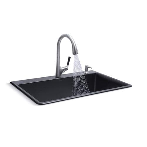 KOHLER Neoroc 22-in x 33-in Matte Black Single Bowl Drop-In or Undermount  2-Hole Commercial/Residential Kitchen Sink All-in-One Kit at Lowes.com