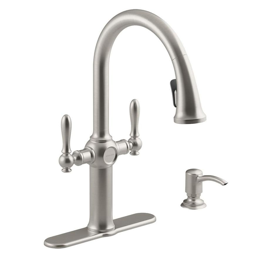 Shop KOHLER Neuhaus Vibrant stainless 2-Handle Pull-down Kitchen ...