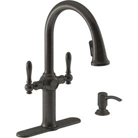 KOHLER Neuhaus Oil-rubbed bronze 2-Handle Pull-down Kitchen Faucet  sc 1 st  Loweu0027s : farmhouse kitchen faucets - hauntedcathouse.org