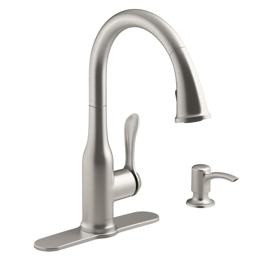 how to install kohler kitchen faucet shop kohler motif vibrant stainless 1 handle pull 26889
