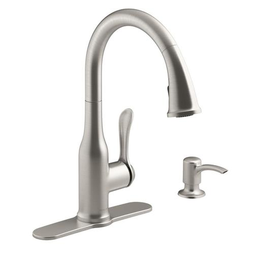 Motif Vibrant Stainless 1-handle Deck Mount Pull-down Kitchen Faucet