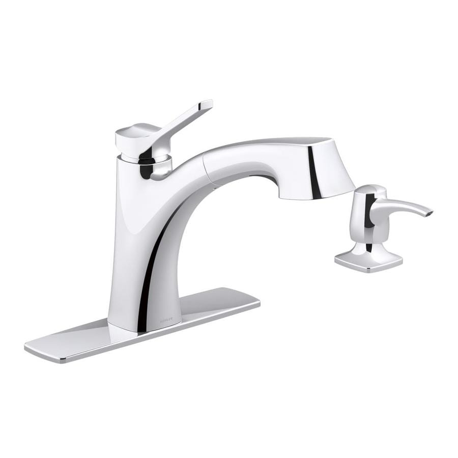 Shop KOHLER Maxton Polished chrome 1-Handle Pull-out Kitchen Faucet ...