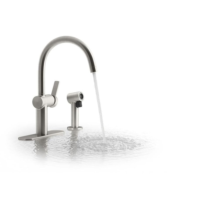 Kohler Koi Vibrant Stainless 1 Handle Deck Mount High Arc Handle Kitchen Faucet Deck Plate Included In The Kitchen Faucets Department At Lowes Com