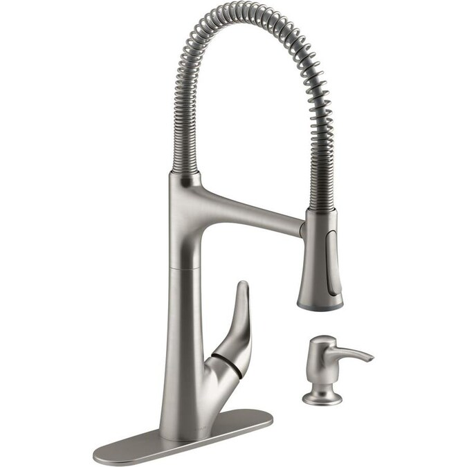 Kohler Lilyfield Pro Semiprofessional Vibrant Stainless 1 Handle Deck Mount Pull Down Handle Kitchen Faucet Deck Plate Included In The Kitchen Faucets Department At Lowes Com