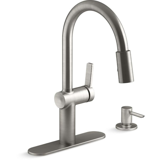 Kohler Koi Vibrant Stainless 1 Handle Deck Mount Pull Down Handle Kitchen Faucet Deck Plate Included In The Kitchen Faucets Department At Lowes Com