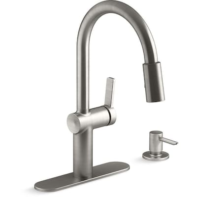 Koi Vibrant Stainless 1-Handle Deck Mount Pull-down Commercial/Residential  Kitchen Faucet