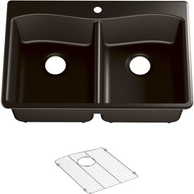 Dekor Master Drop In 33 In X 22 In Black Double Equal Bowl 1 Hole Kitchen Sink In The Kitchen Sinks Department At Lowes Com