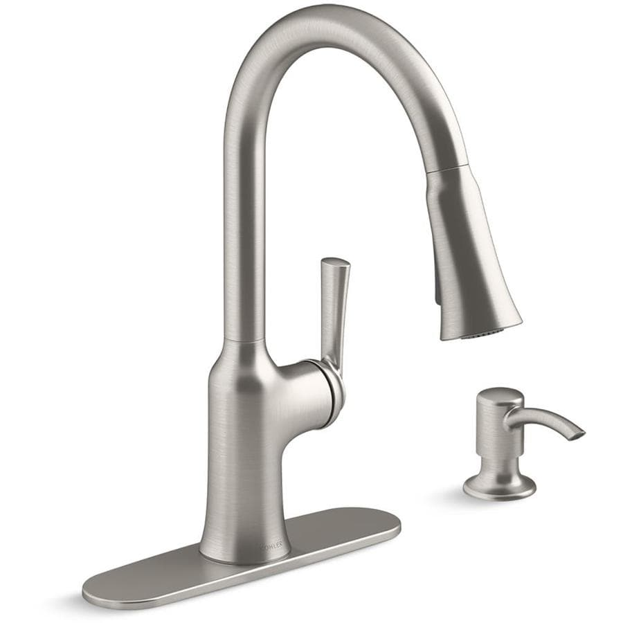 Kohler Brynn Vibrant Stainless 1 Handle Deck Mount Pull Down Handle Kitchen Faucet Deck Plate Included In The Kitchen Faucets Department At Lowes Com