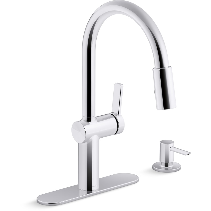 Kohler Koi Polished Chrome 1 Handle Deck Mount Pull Down Handle Kitchen Faucet Deck Plate Included In The Kitchen Faucets Department At Lowes Com