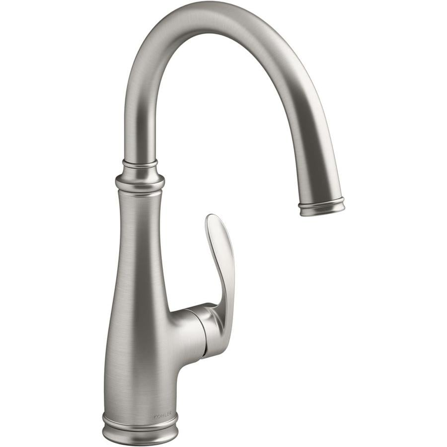 Kohler Bellera Vibrant Stainless 1 Handle Deck Mount Bar And Prep Handle Kitchen Faucet In The Kitchen Faucets Department At Lowes Com
