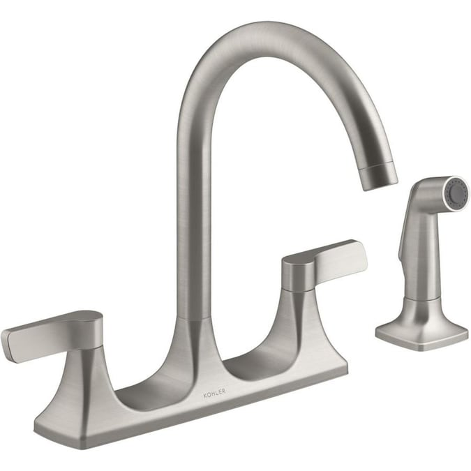 Kohler Maxton Vibrant Stainless 2 Handle Deck Mount High Arc Handle Kitchen Faucet In The Kitchen Faucets Department At Lowes Com