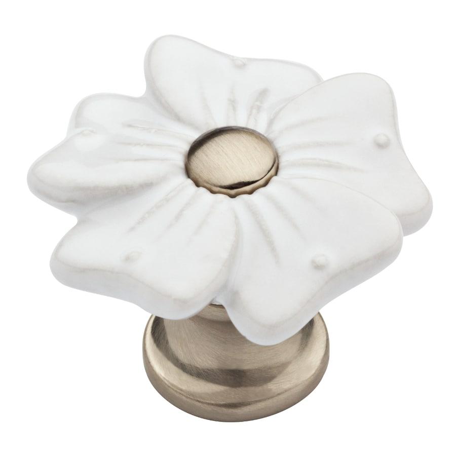 Brainerd Flat White and Satin Nickel Novelty Cabinet Knob