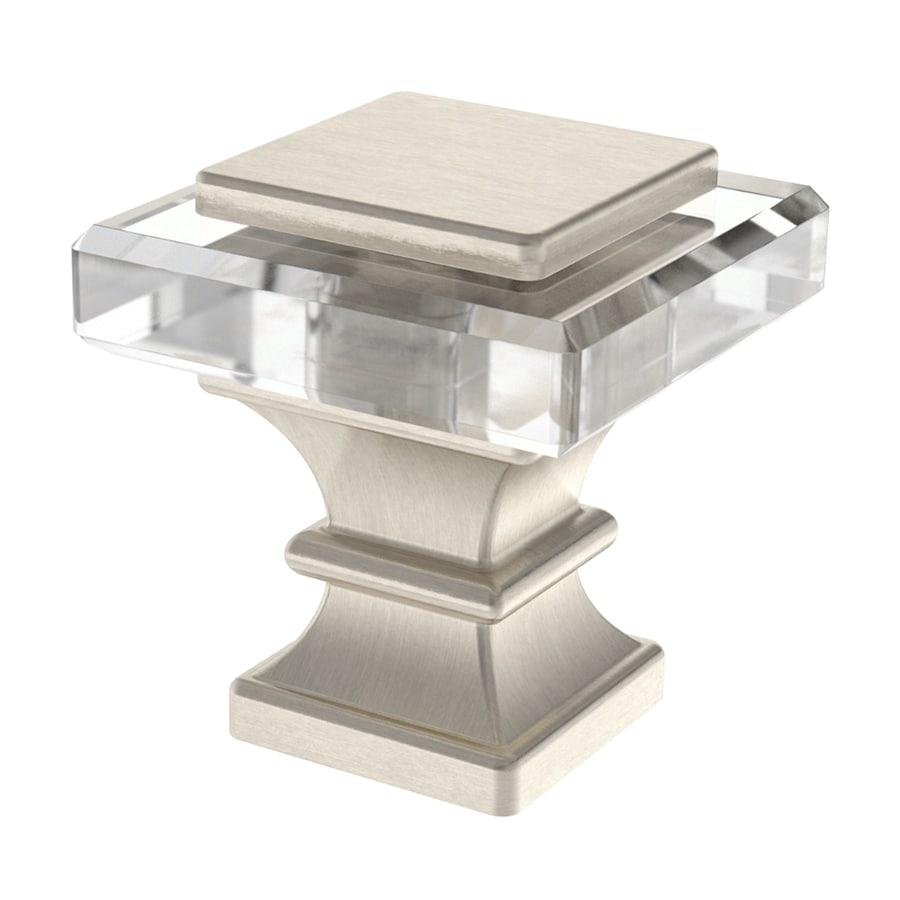 brainerd satin nickel and clear square cabinet knob