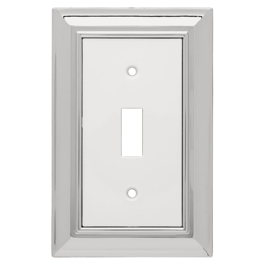 Brainerd 1-Gang Chrome and White Toggle Wall Plate