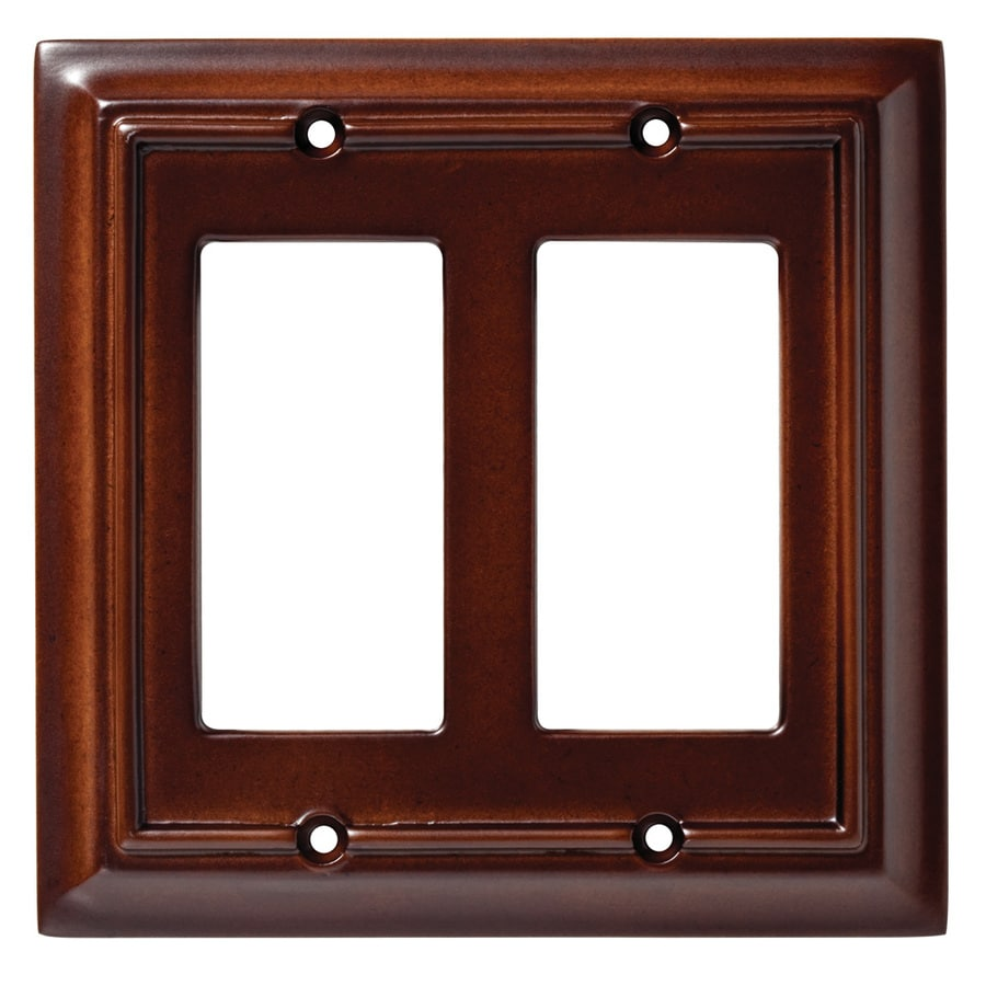 Brainerd Wood Architectural 2-Gang Espresso Double Decorator Wall Plate