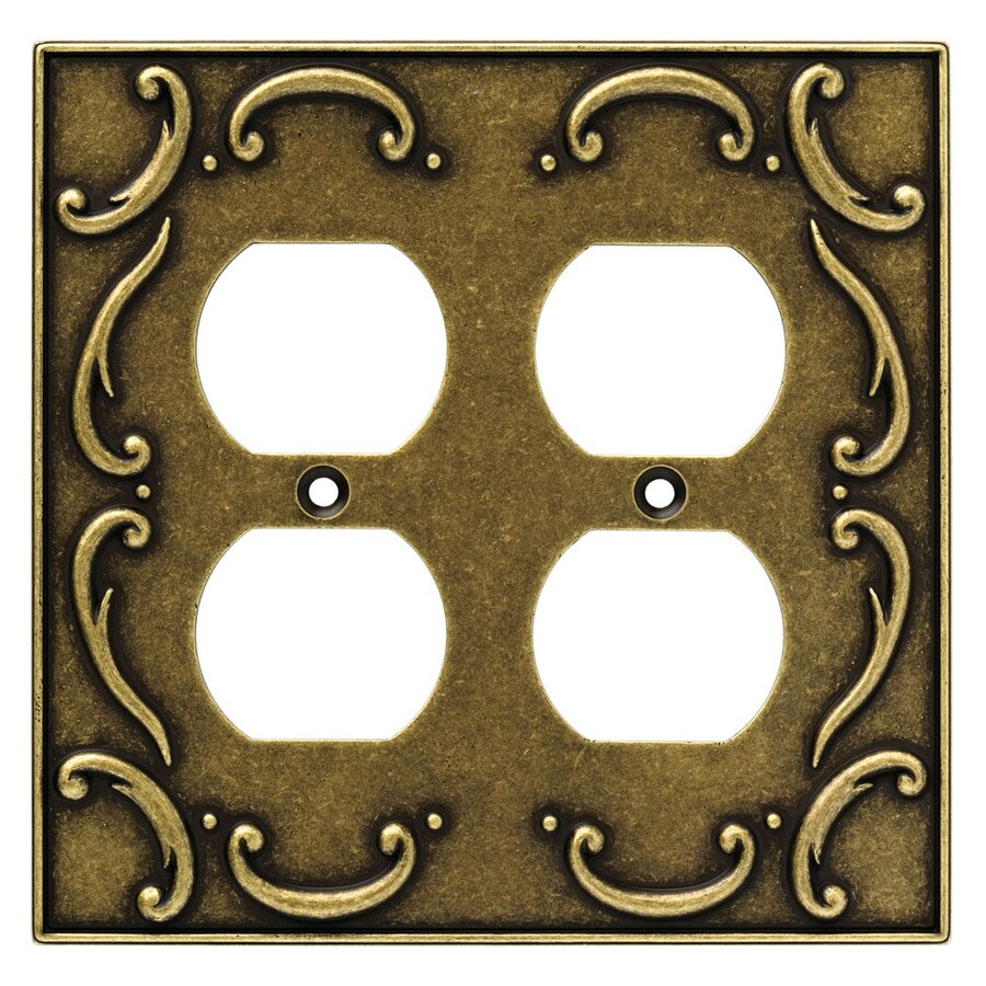 Brainerd 2-Gang Burnished Antique Brass Double Round Wall Plate