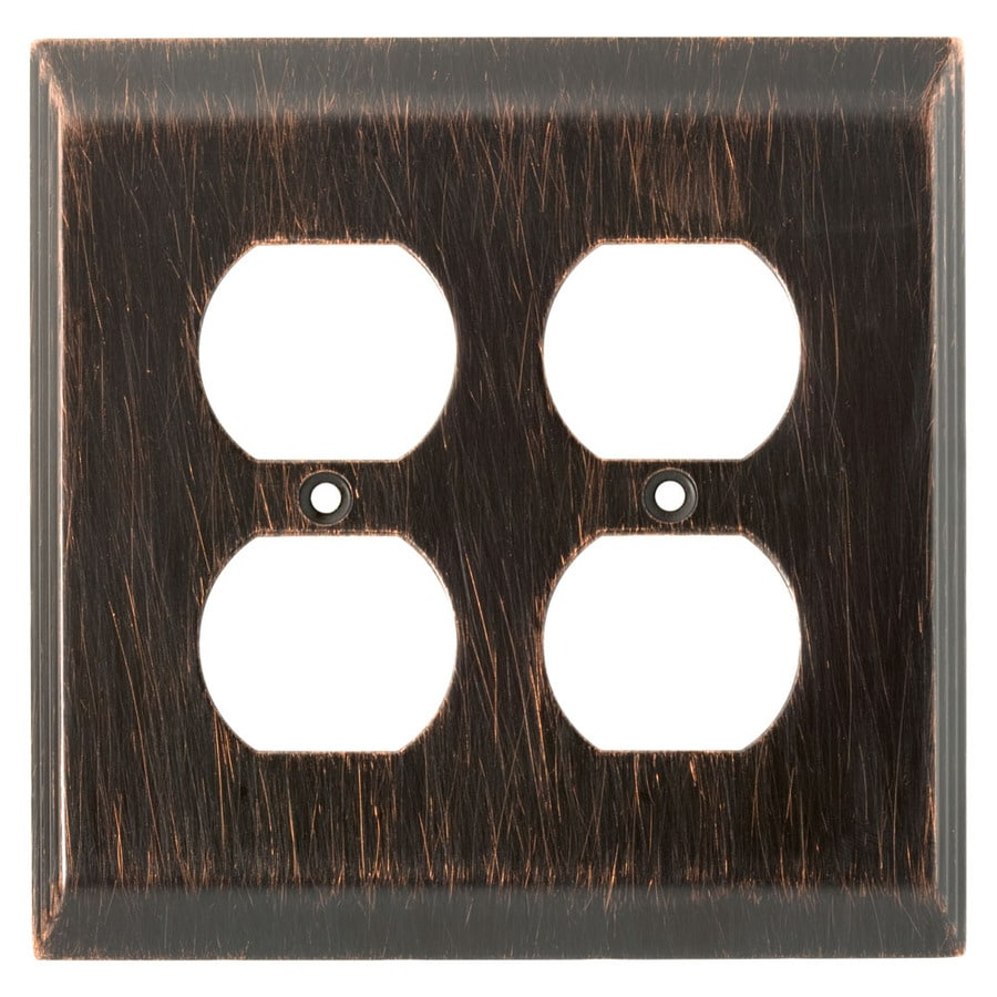 Brainerd 2-Gang Venetian Bronze Double Round Wall Plate