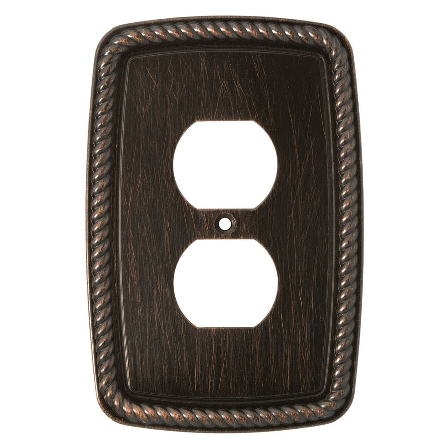 Brainerd 1-Gang Venetian Bronze Standard Duplex Receptacle Metal Wall Plate