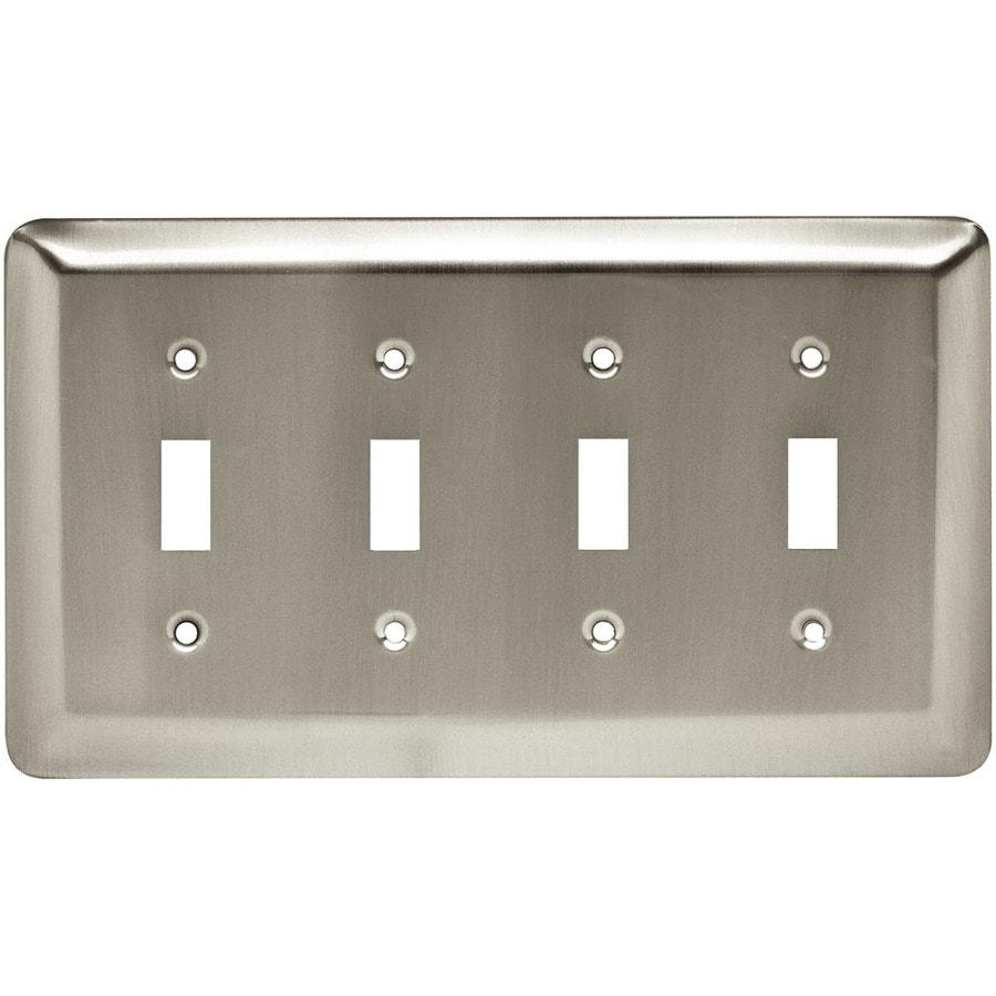 Style Selections 4-Gang Satin Nickel Toggle Wall Plate