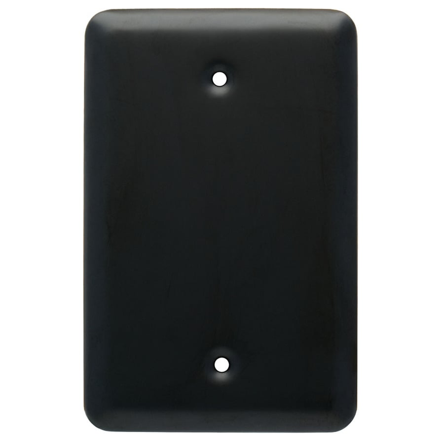 Style Selections Stamped Round 1-Gang Flat Black Single Toggle Wall Plate