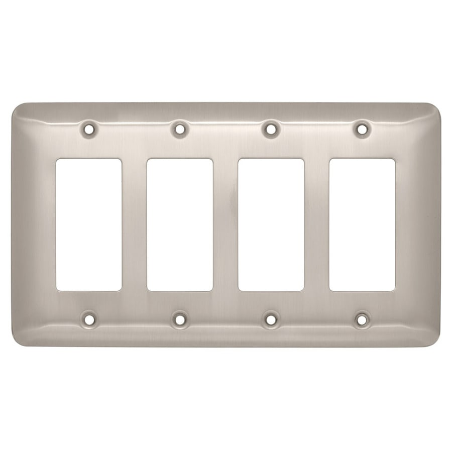 Brainerd 4-Gang Satin Nickel Decorator Wall Plate