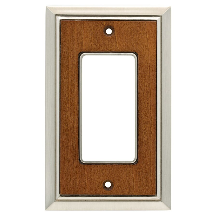Brainerd 1-Gang Satin Nickel/Dark Caramel Decorator Wall Plate
