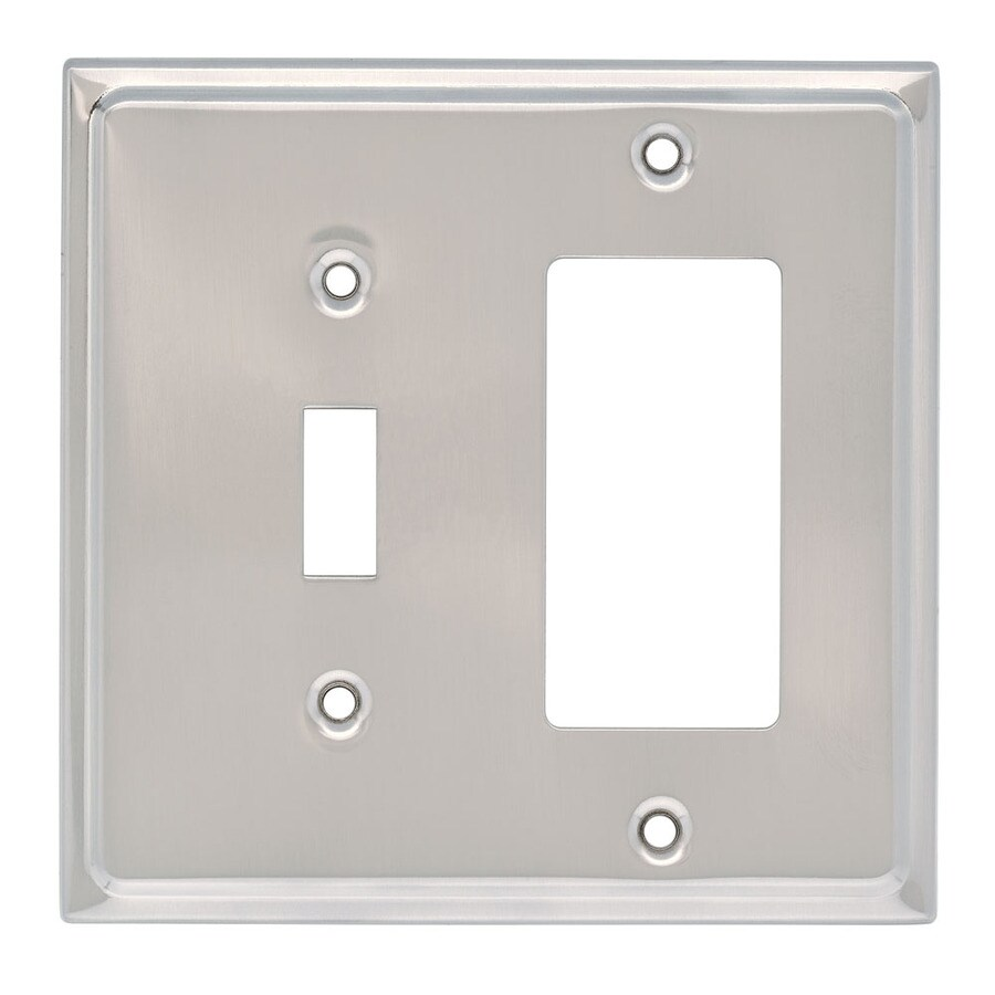 Brainerd 2-Gang Satin Nickel Decorator Wall Plate