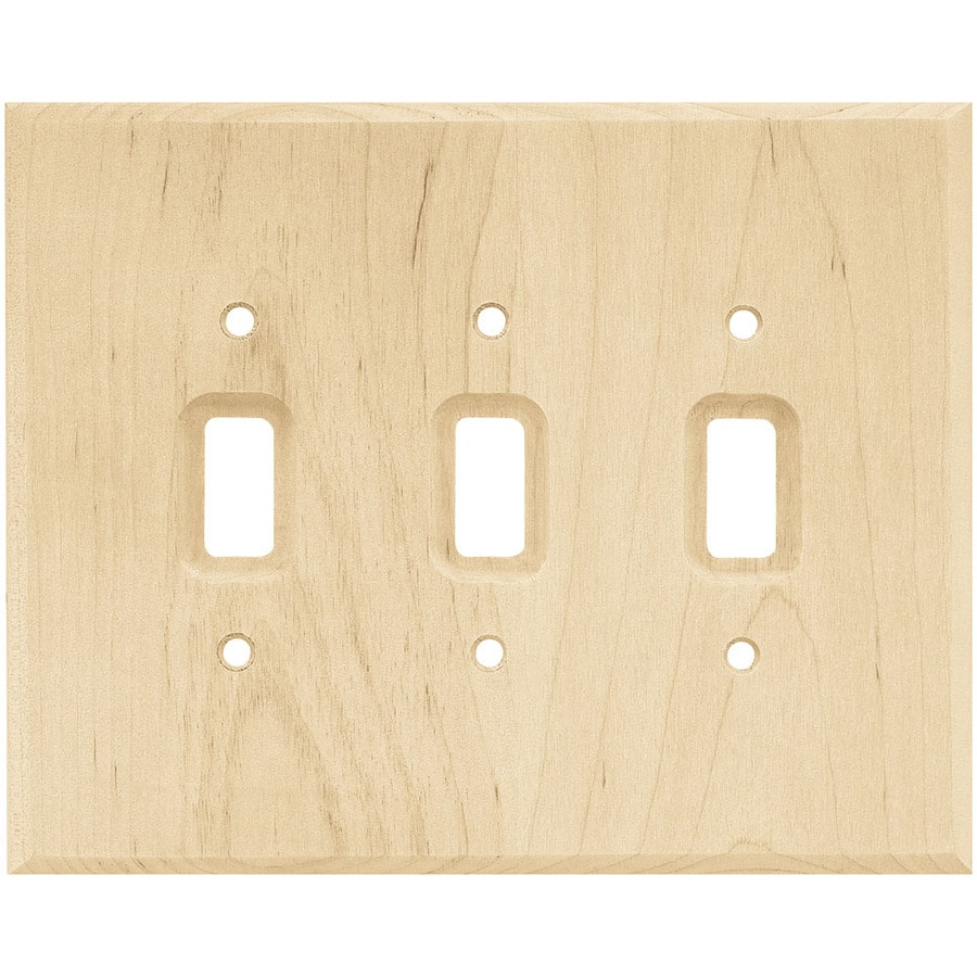 Brainerd Wood Square 3-Gang Light Wood Triple Toggle Wall Plate