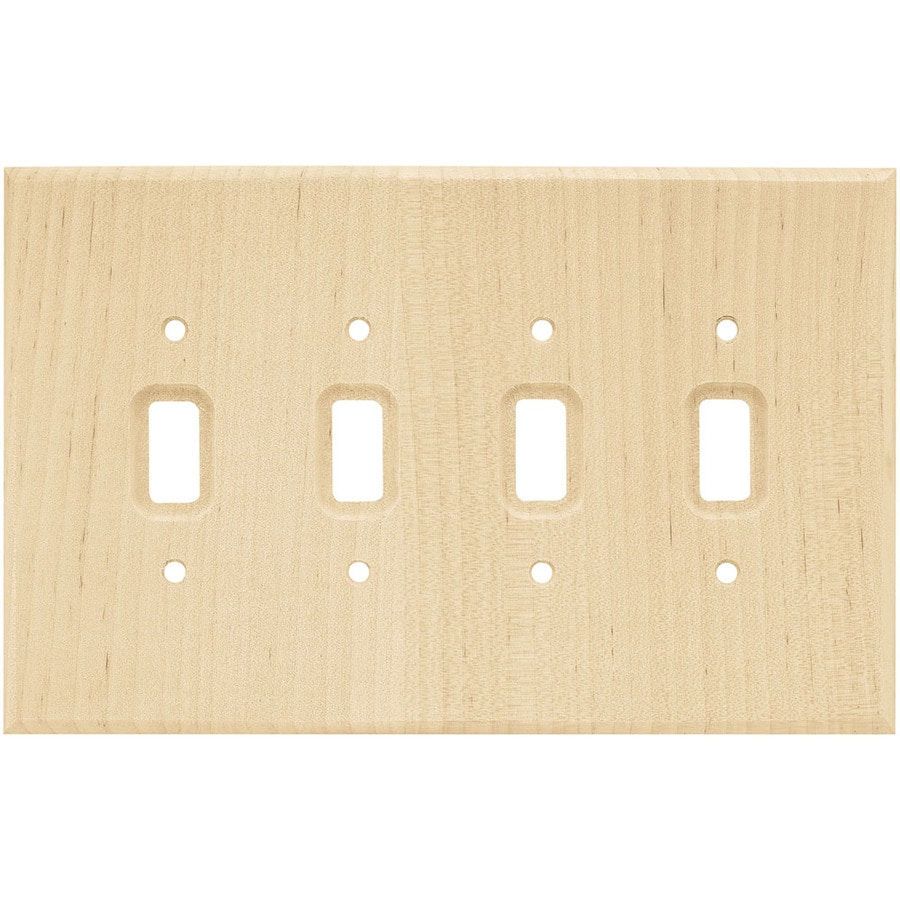 Brainerd Wood Square 4-Gang Light Wood Quad Toggle Wall Plate