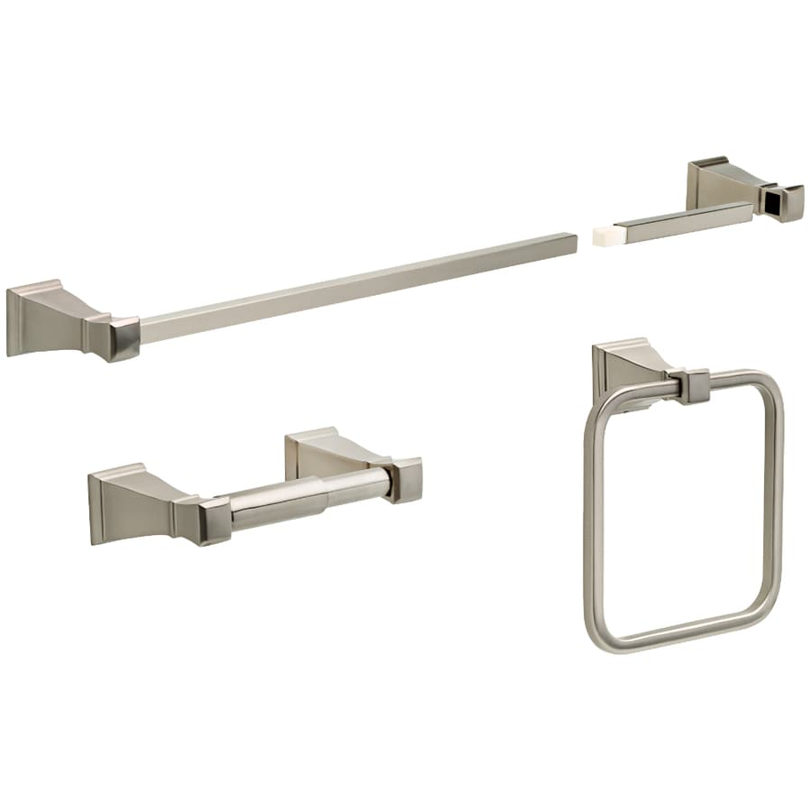 delta 3 piece olmsted satin nickel decorative bathroom hardware set - Bathroom Accessories Delta