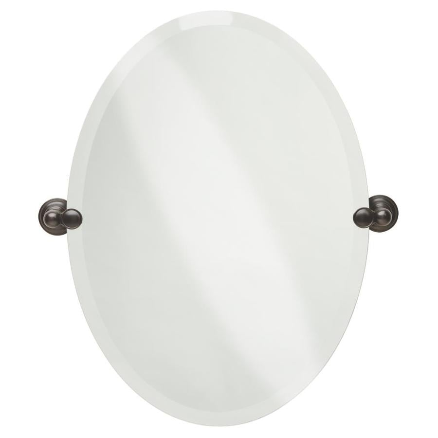 Bathroom Vanity Mirrors Lowes shop delta providence 19-in x 26-in oval frameless bathroom mirror