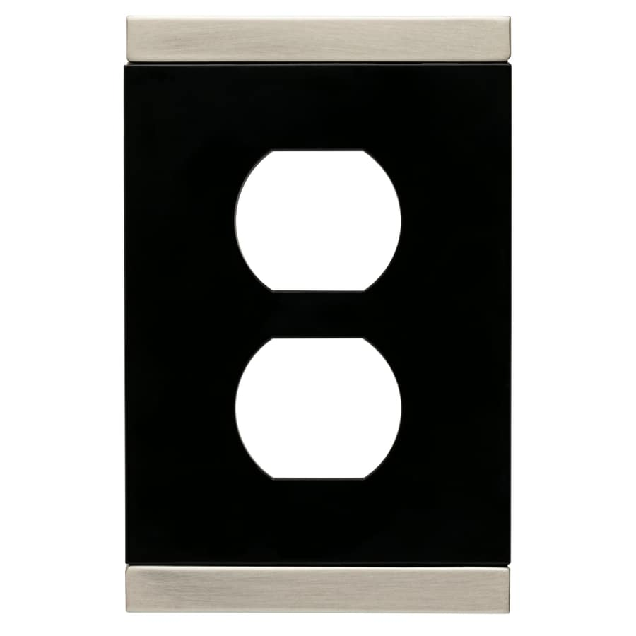 Brainerd Basic Stripe 1-Gang Satin Nickel and Black Single Duplex Wall Plate