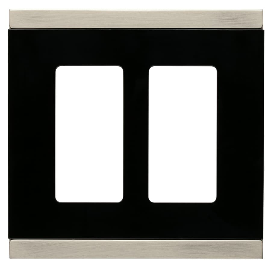Brainerd Basic Stripe 2-Gang Satin Nickel and Black Double Decorator Wall Plate
