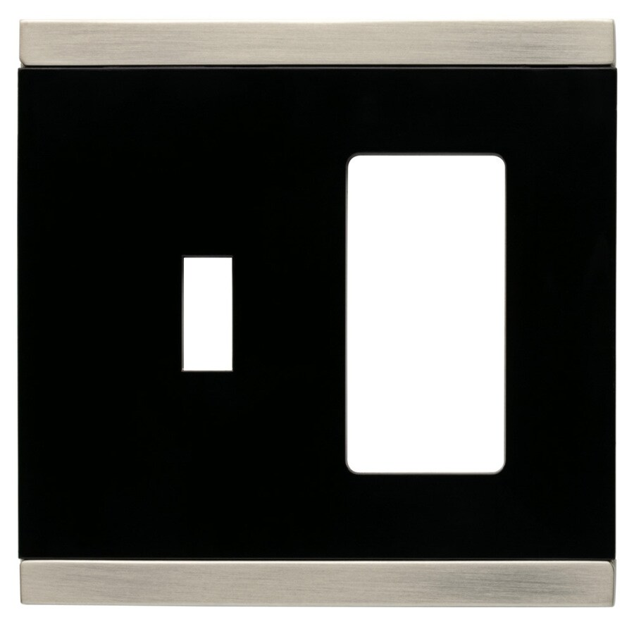 Brainerd 2-Gang Satin Nickel and Black Combination Metal Wall Plate