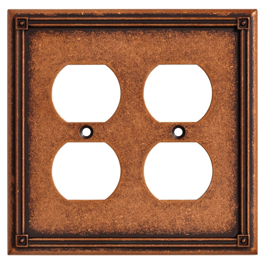 Brainerd Ruston 2-Gang Sponged Copper Double Duplex Wall Plate