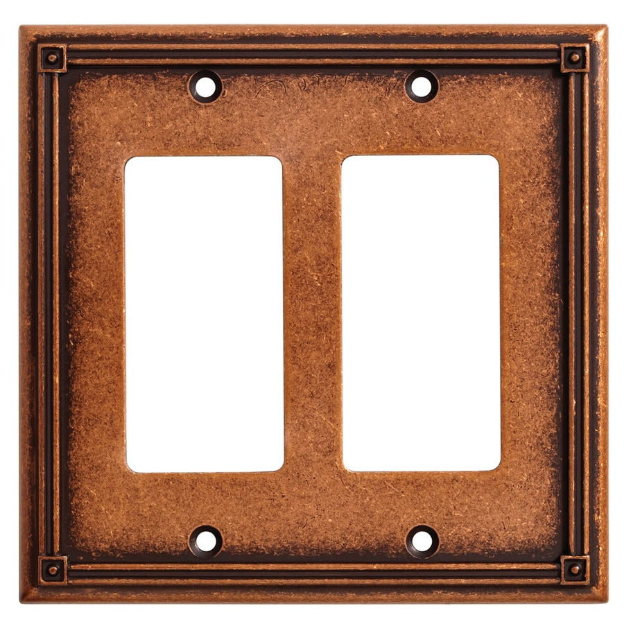Brainerd Ruston 2-Gang Sponged Copper Double Decorator Wall Plate