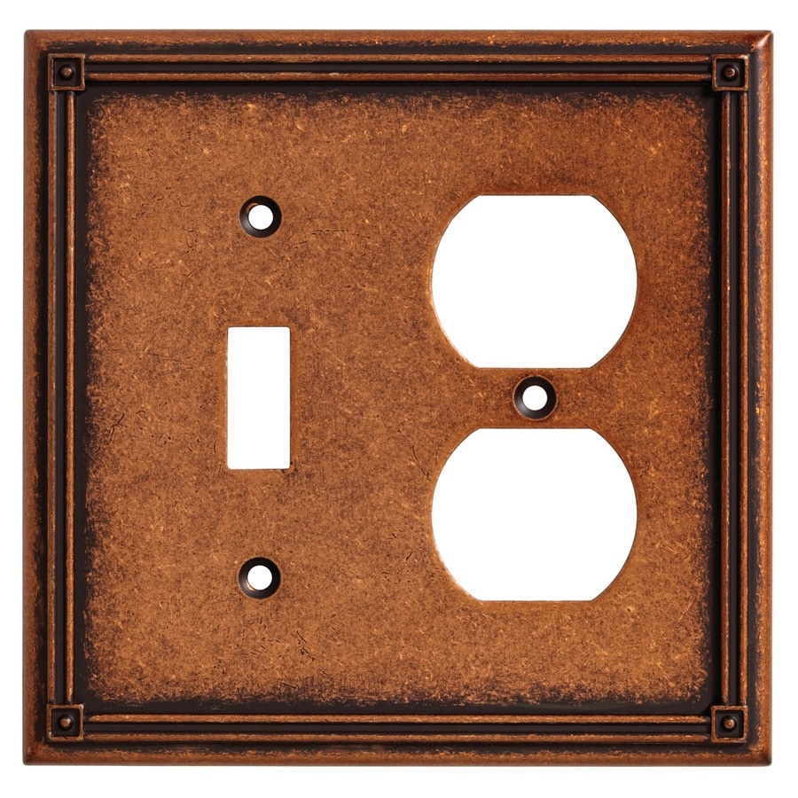 Brainerd Ruston 2-Gang Sponged Copper Single Toggle/Duplex Wall Plate