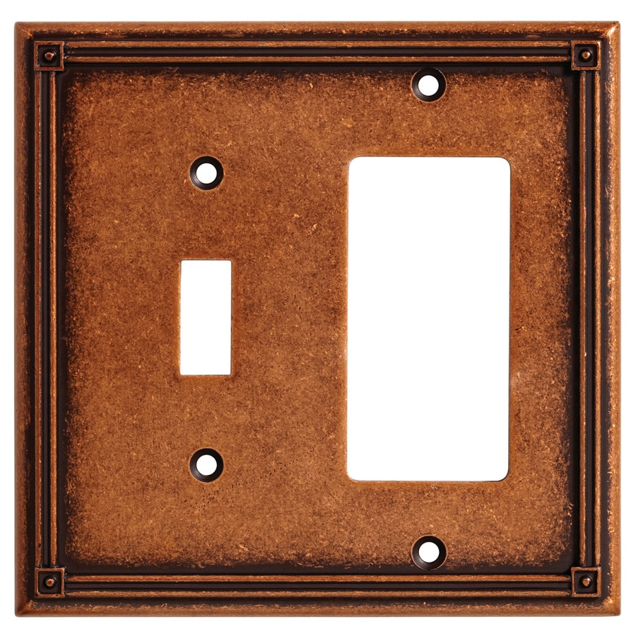 Brainerd Ruston 2-Gang Sponged Copper Single Toggle/Decorator Wall Plate