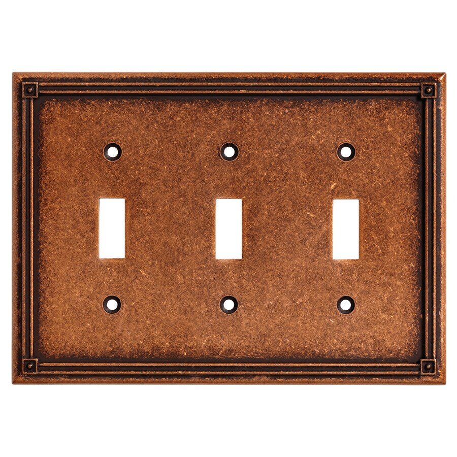 Brainerd Ruston 3-Gang Sponged Copper Triple Toggle Wall Plate