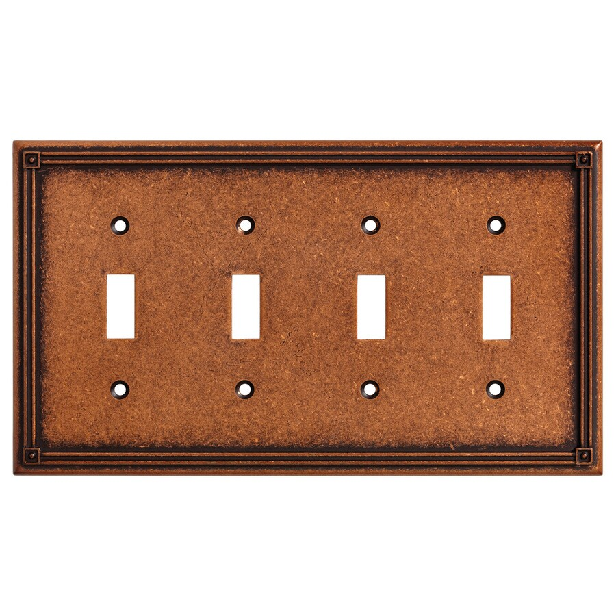 Brainerd Ruston 1-Gang Sponged Copper Quad Toggle Wall Plate
